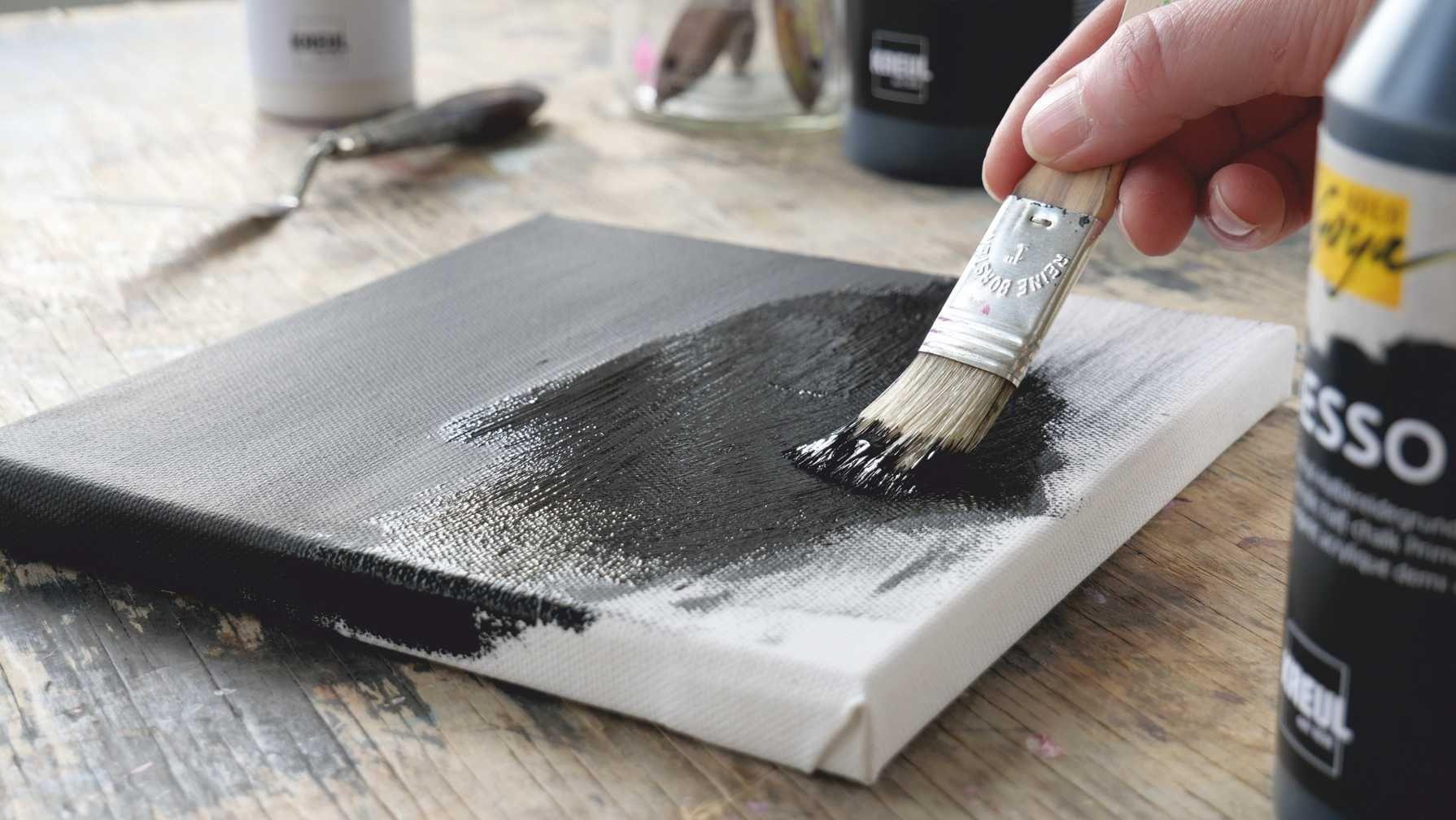 Solo Goya Gesso Auf Die Basis Kommt Es An Schwarze Leinwand Gouachemalerei Metallic Farbe