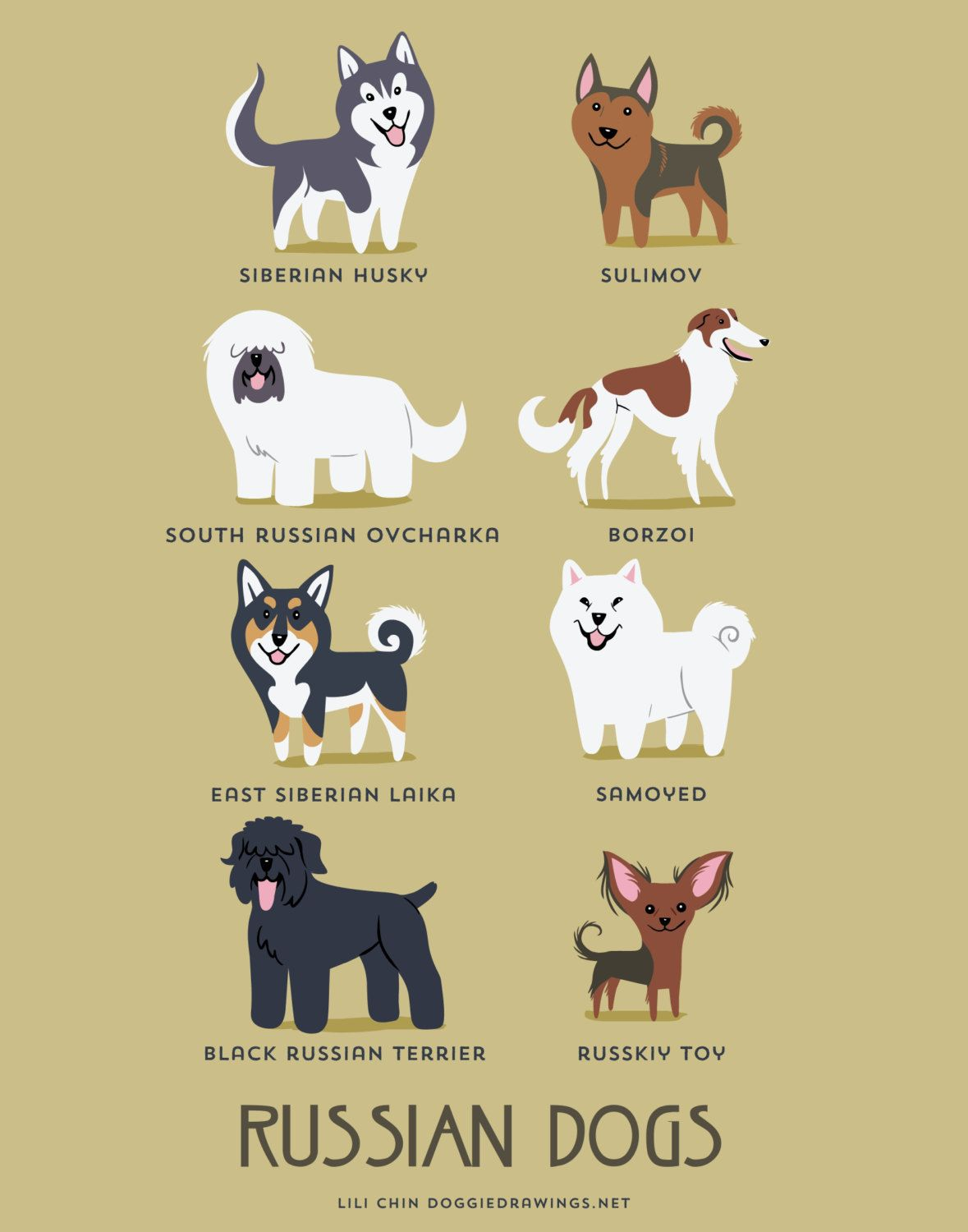 Russian Dogs Art Print Dog Breeds From Russia By Doggiedrawings