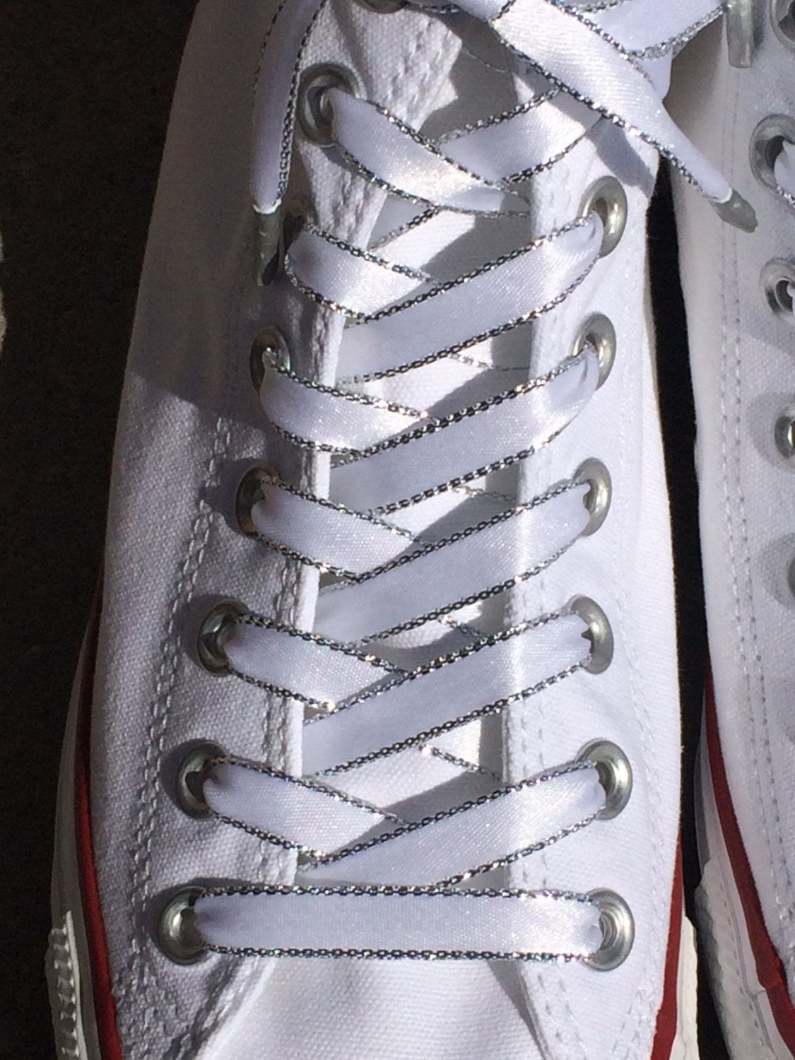 4a1550aa9705c White & Silver Shoelaces. 3/8