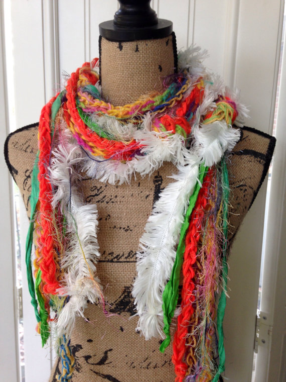 Boho Scarf, Sari Silk, Skinny Scarf, Layered, Crochet, Knotted, Long