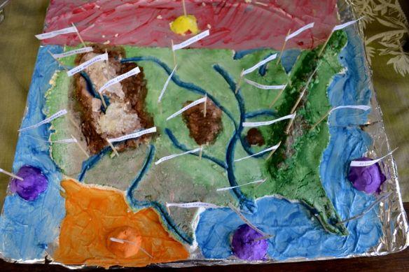 US Landforms and Bos of Water salt dough map. Do I do ... on 3d salt-dough maps, social studies maps, salt-dough landforms maps,