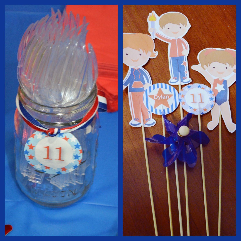 Gymnastics birthday party, graphics from  #patriotic #redwhiteblue #usa www.mygrafico.com