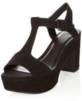 389e0e242f black t bar platform block heels new look | New Look Wide Fit Black Suedette  T-Bar Block Heel Sandals £24.99