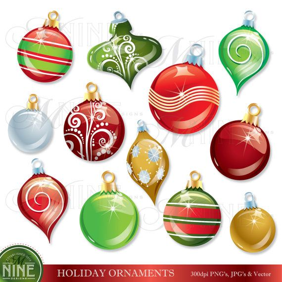 Holiday Christmas Ornaments Clipart Instant Download Ornament Clip Art Vector Art Icons G Cute Christmas Decorations Christmas Tree Clipart Holiday Clipart
