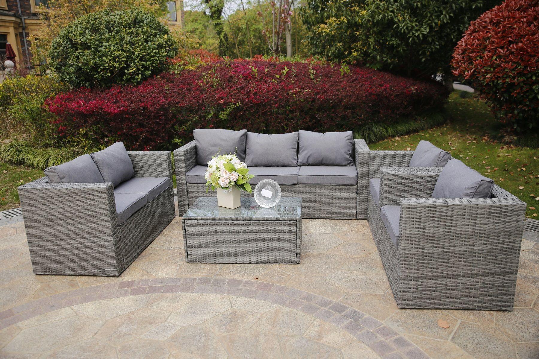 Vancouver 7 Seater Rattan Garden Sofa Set In Grey Garden Sofa Set Pallet Garden Furniture Garden Sofa [ 1200 x 1800 Pixel ]