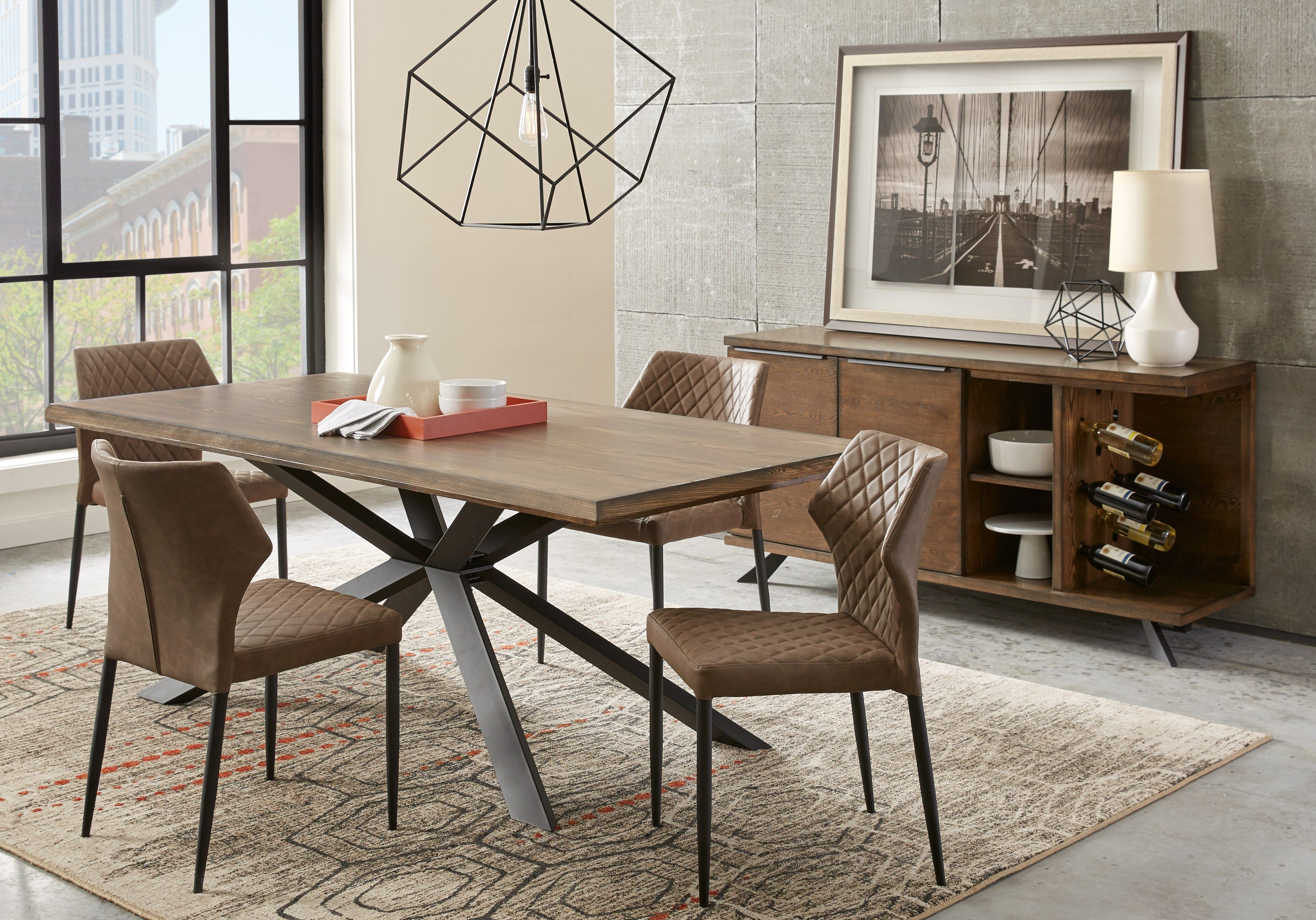 Alessi Brown 5 Pc Dining Room 777 0 5pc Set Includes Dining Table Side Chair 4 Find Affordable Di Dining Room Sets Dining Room Design Living Room Leather