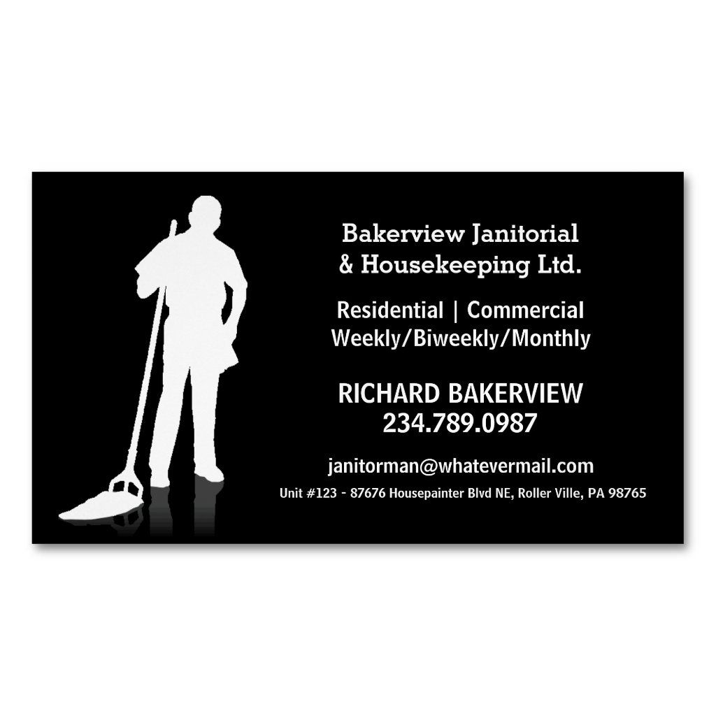 Pro Janitorial Housecleaning Magnet Advertisment Zazzle Com Cleaning Business Cards Printing Business Cards Janitorial
