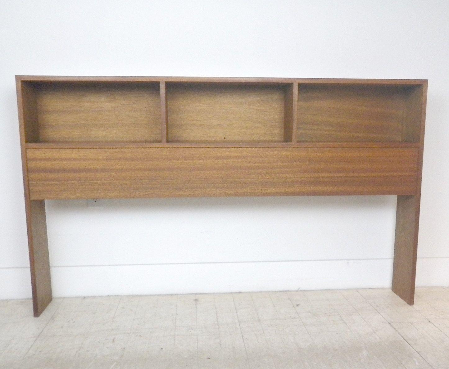 Best Mid Century Modern Mahogany Queen Size Headboard Bookcase 640 x 480