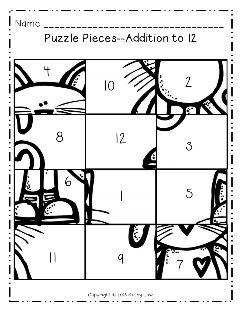 Picture Puzzles Addition to 12.pdf Pete the cat, Maths