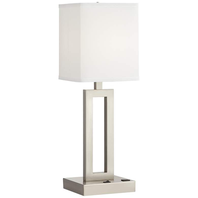 Acuous Brushed Nickel Table Lamp With Usb Port 84v33 Lamps Plus Nickel Table Lamps Table Lamp Lamp
