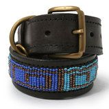 Blue and Brown Beads Leather Dog Collar