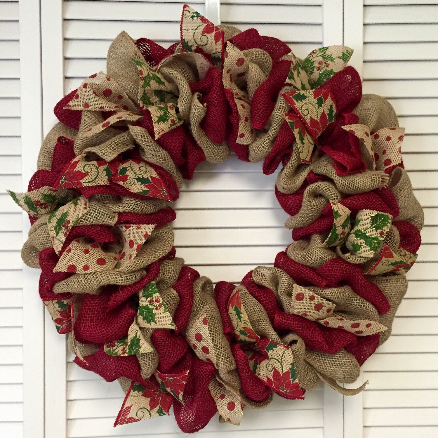 red and green christmas wreath burlap wreath christmas ribbon wreath large xmas wreath - Burlap Christmas Ribbon
