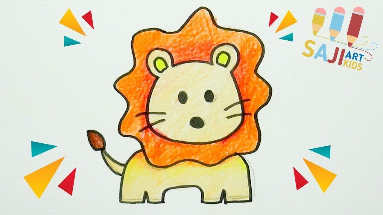 วาดร ประบายส ไม สวยๆ วาดร ปส งโตแบบง ายๆ How To Draw A Cute Lion Ste น าร ก