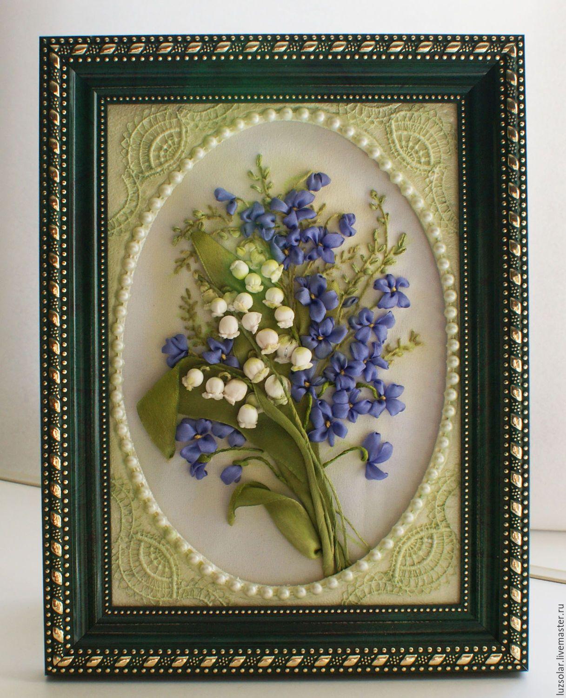 Купить Вышивка лентами ( миниатюра) Весенние цветы 24 х 19 ...