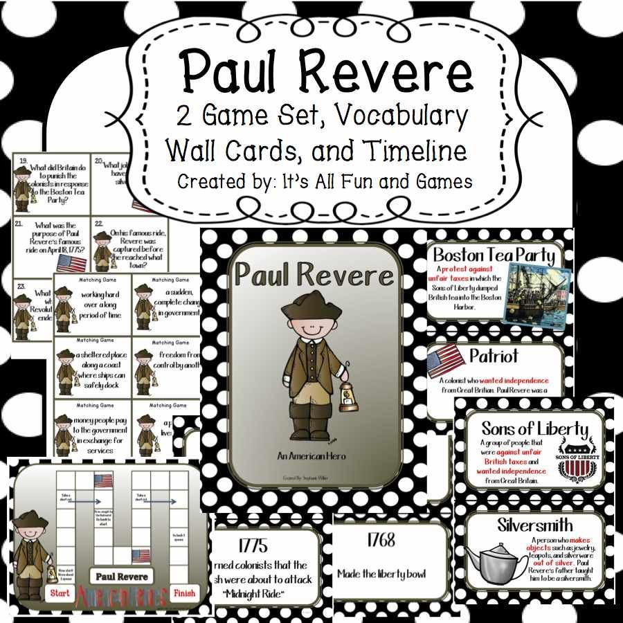 Paul Revere Game Set Vocabulary Wall Cards And Timeline Social Studies Vocabulary Vocabulary Activities Middle School Third Grade Social Studies