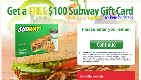 Free $100 Subway Canada Gift Card   Free Gift Cards   Pinterest