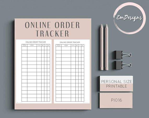printable online order tracker insert in personal planner size digital download filofax kikki k planner inserts printable planner inserts and planners