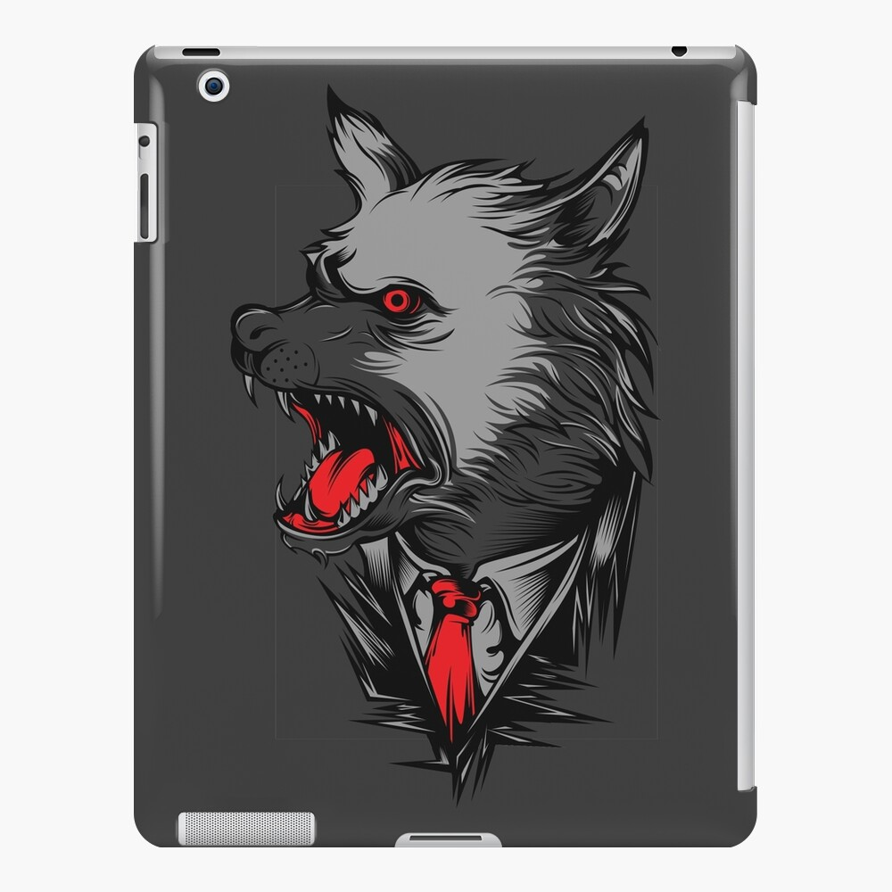 'angry wolf with red tie tshirt design gift idea' iPad