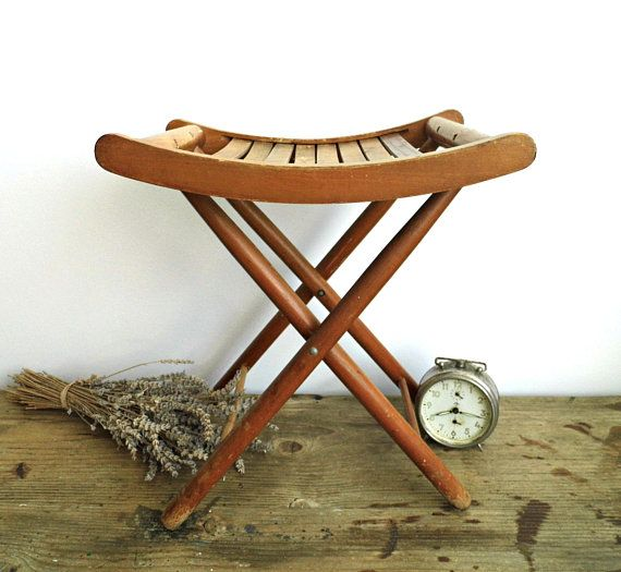 Awesome Vintage Folding Foot Stool Chair Wood Patio Slatted Seat Footstool Small  Wooden Side Coffee Table Child Stool Rustic Minimalist Mid Century