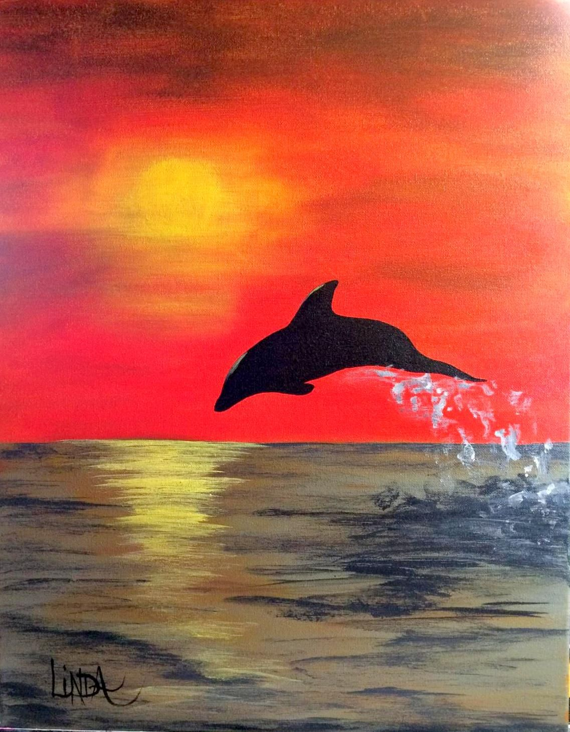 Dolphin Shore Dolphin Painting Canvas Art Painting Art Painting