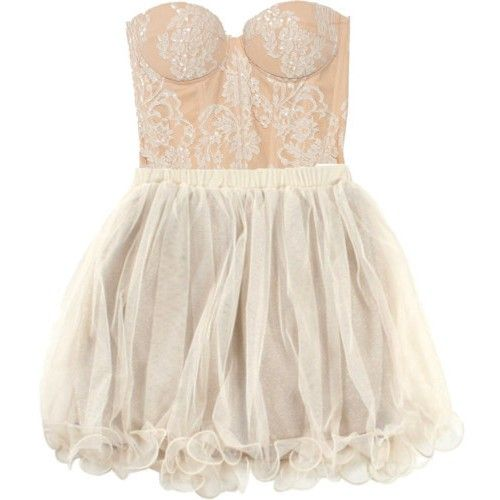 strapless ivory lace dress love the tule skirt
