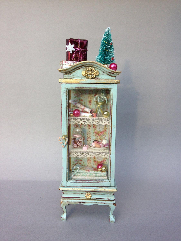 1:12 vitrina para casas de muñecas, mueble miniatura, artesanía ...