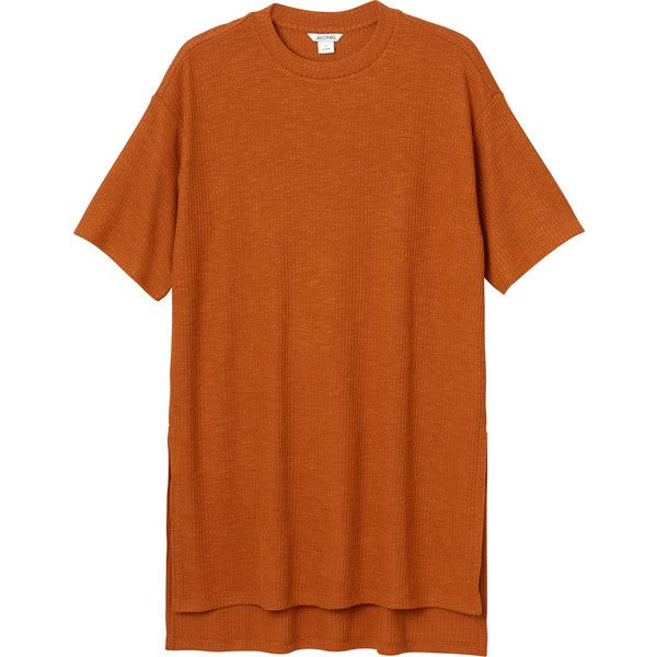 Monki Nanna rib top (€14) ❤ liked on Polyvore featuring tops, dresses, shirts, clothes - dresses, t-shirts, sweet orangeade, over sized shirts, oversized tops, monki and ribbed top