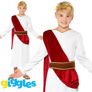 CAESAR FANCY DRESS COSTUME BOYS ROMAN EMPEROR KING TOGA GREEK WORLD BOOK DAY