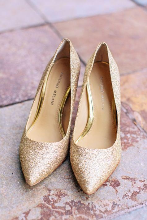 Gold Glitter Bridal Shoes | KMD Creations {photo U0026 Film}