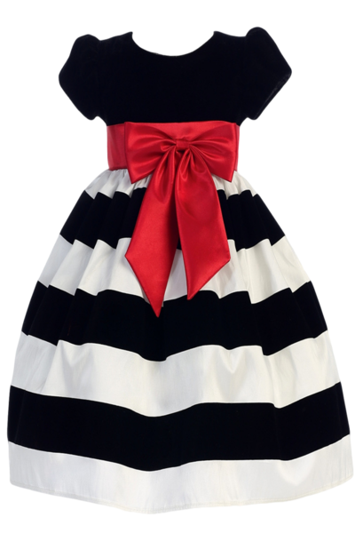 d893913c2 Black Velvet   White Taffeta Striped Girls Holiday Dress 3m-10 ...