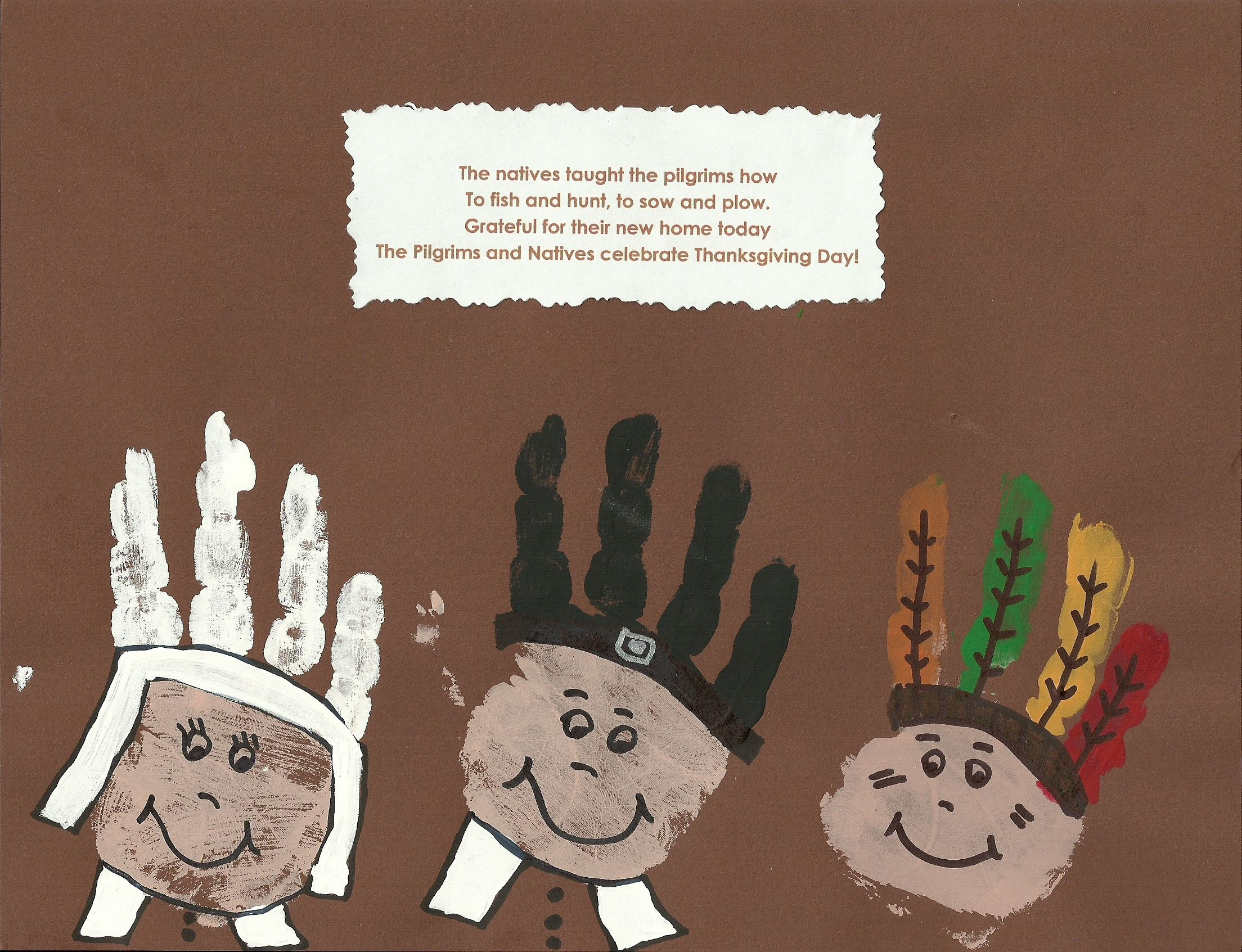 Arts and crafts prints - Pilgrim Indian Hand Prints No Information On This Craft Easy Enough