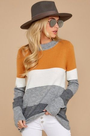Go Along With This Butterscotch Multi Stripe Sweater #leopardshoesoutfit