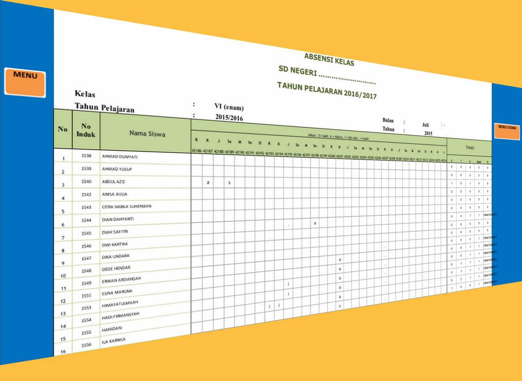Operator Sekolah Referensi Operator Sekolah Aplikasi Absensi Siswa Lengkap Dengan Daftar Kelas Lainnya Microsoft Excel Microsoft Office Word Microsoft
