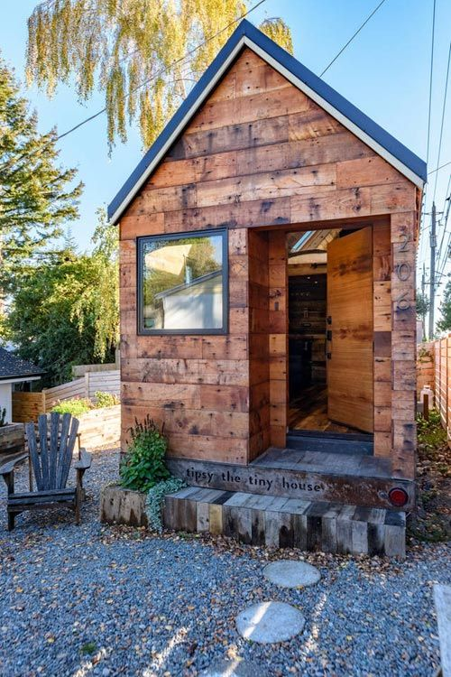 This is tipsy the tiny house a perfect seattle vacation spot it was build by architect chad kuntz and you are invited to come check it out