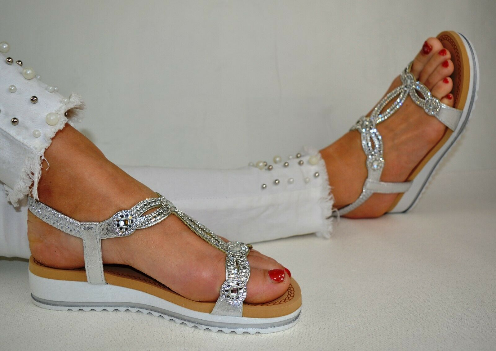 Damenschuhe Glitzer Sandalen Zehentrenner Sandaletten Schleife