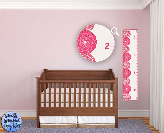 Growth Chart For Girls Kids Room Wall Decor Pink Floral Custom