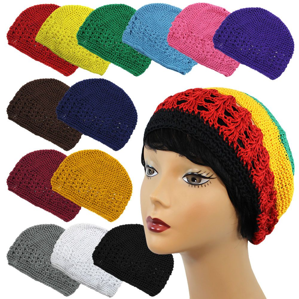 Coopy Net Color Rasta Braided Knit Crochet Skull Beanie Beret Kufi ...