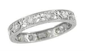 Edwardian Diamond Set Antique Wedding Band in Platinum Size 7