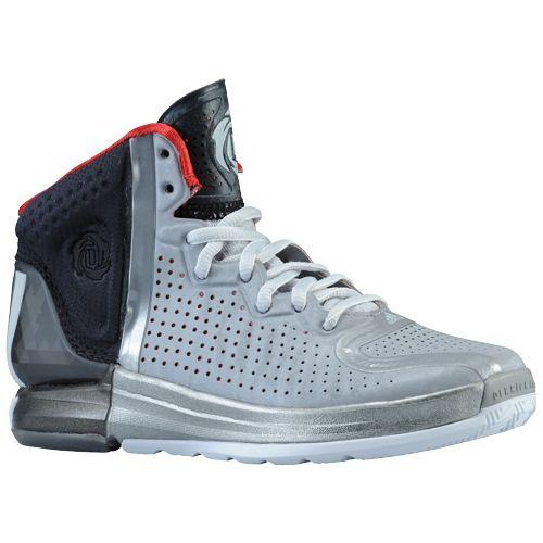 adidas Rose 4.0 - Boys' Grade School - Basketball - Shoes - Aluminum/White