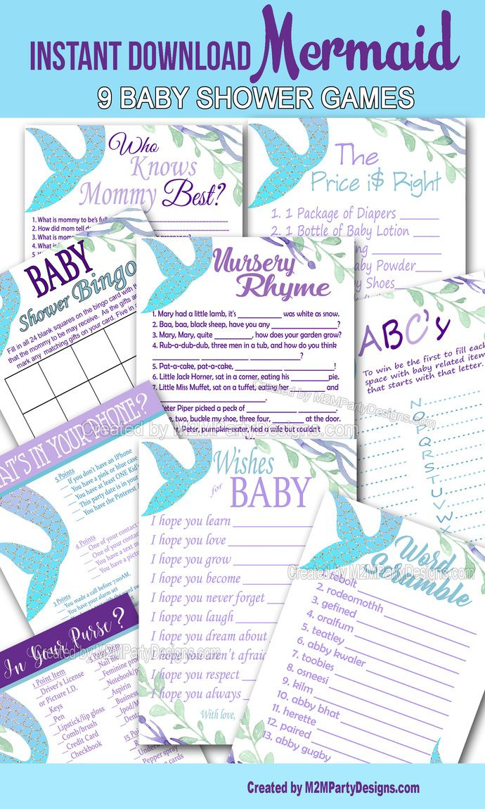 Mermaid Baby Shower, Game Cards Bundle Set of 9, Mermaid baby shower games, Baby Shower Printables, Digital File Instant Download