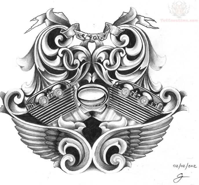 Harley Davidson Bike Engine Tattoo Design Engine Tattoo Shield Tattoo Tattoo Designs