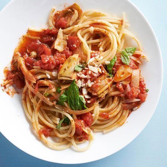 Artichoke Tomato Pasta Recept Granen Parmezaan En Olijven