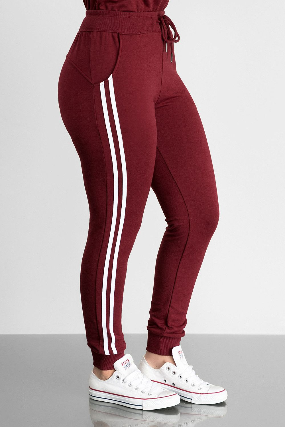 Get Ready To Turn The Heat Up In These High Waist Two White Striped Cinched Ankle Cuff Elastic Stretch Waist Band With Tie C Sweatpants Ankle Cuffs Fashion