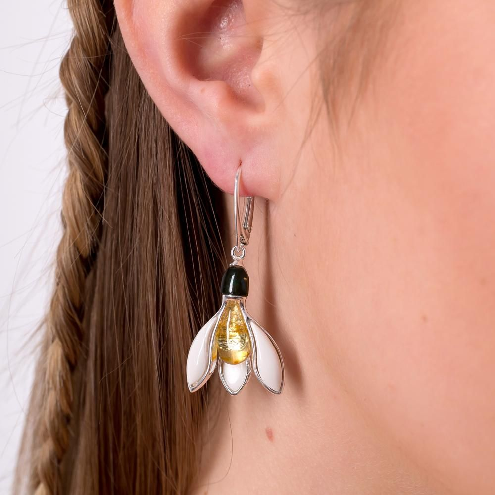British Snowdrops Earrings from our Botanical collection