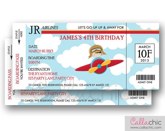 Airplane Ticket Invitation PRINTABLE - Boarding Pass Aeroplane - printable ticket invitations