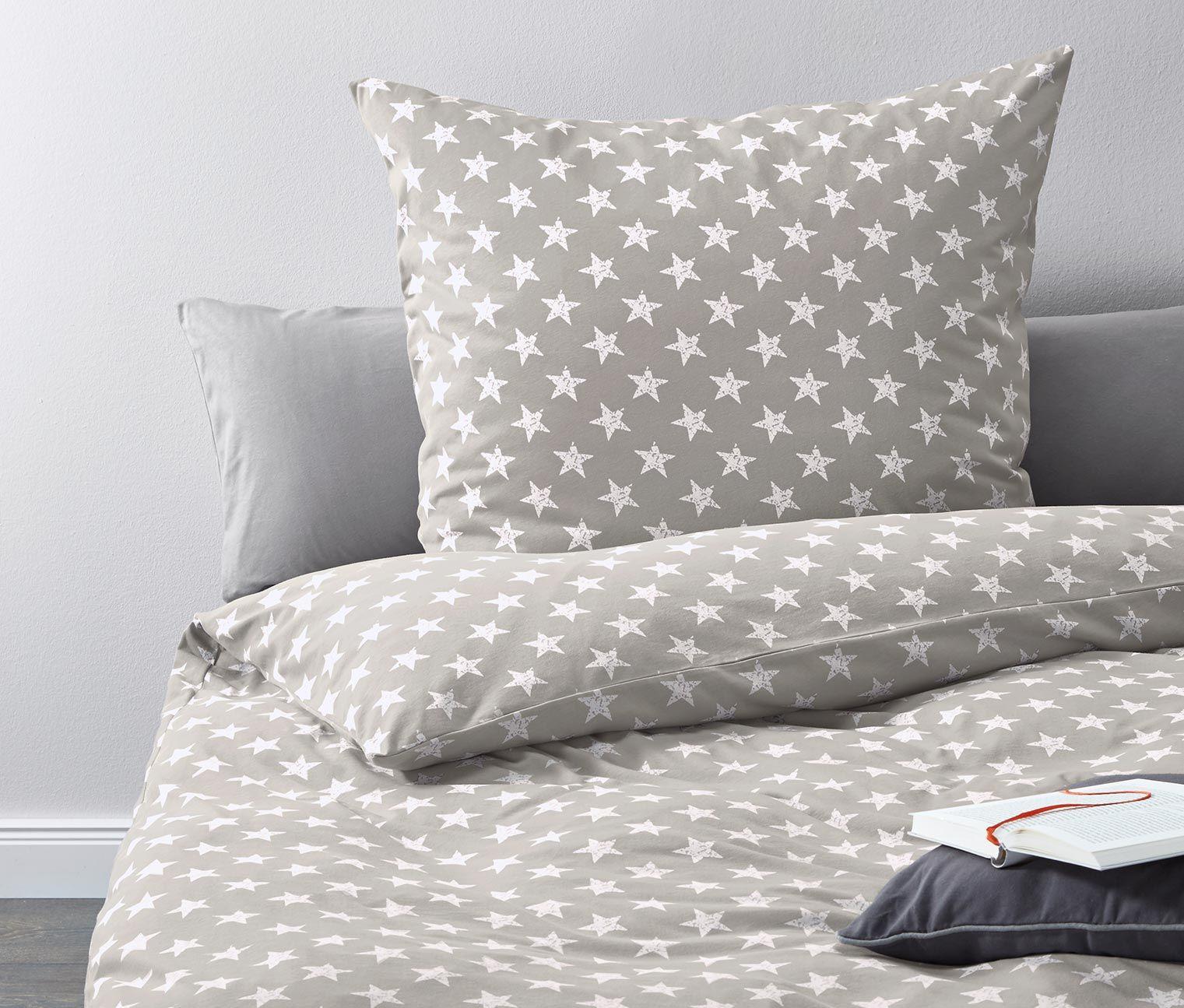 jersey bettw sche grau mit sternen print online bestellen bei tchibo 331610 star decor home. Black Bedroom Furniture Sets. Home Design Ideas