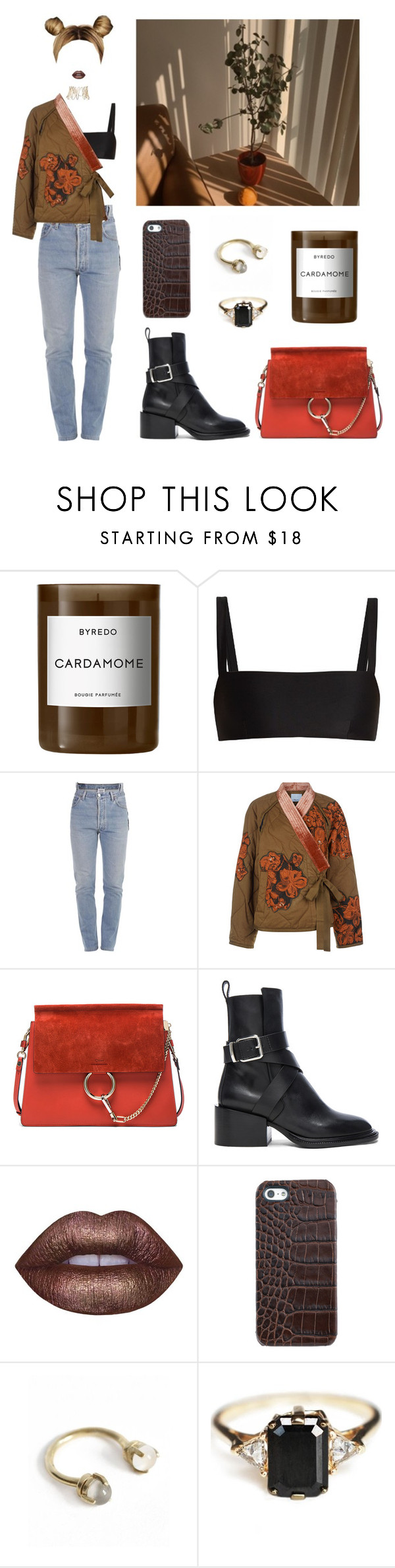 """""""take it off"""" by sarahloup ❤ liked on Polyvore featuring Byredo, Matteau, Vetements, 3.1 Phillip Lim, Repossi, Chloé, Jil Sander, Lime Crime, Graphic Image and Aesa"""
