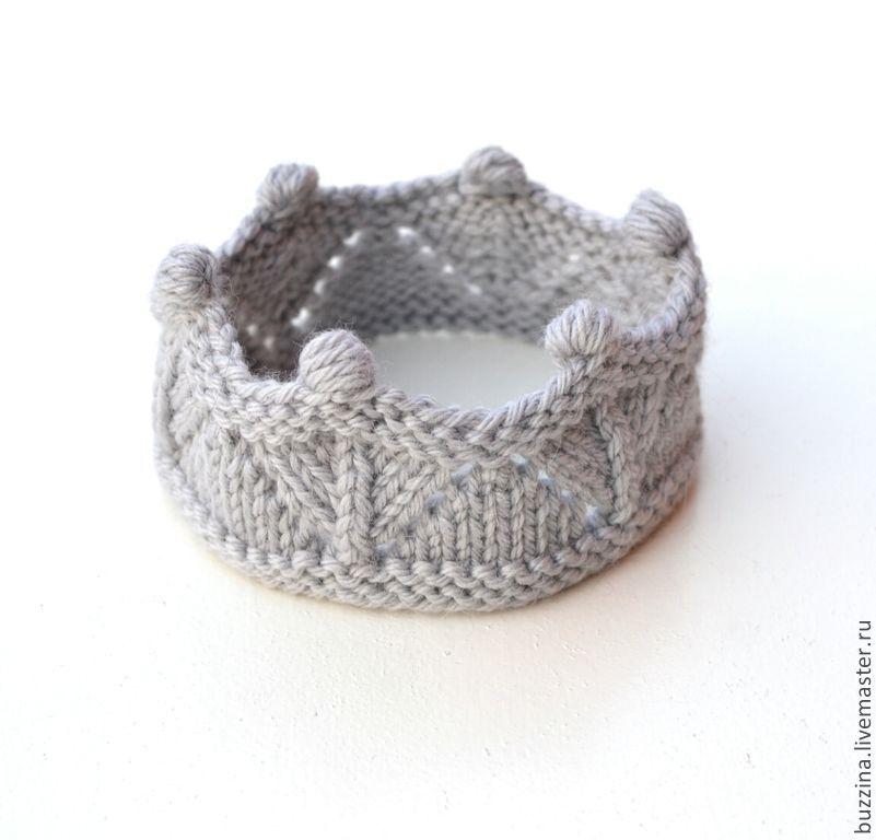 вязаная повязка на голову корона серая Knit Handmade Children