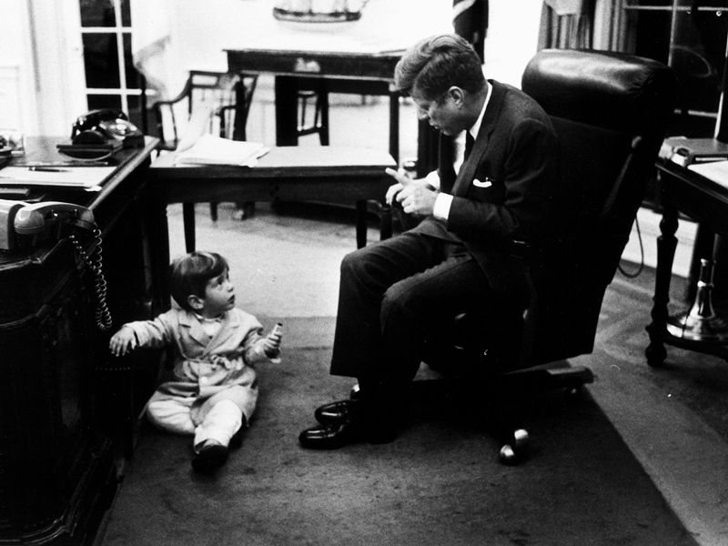 JFK Jr with his father in the Oval Office John F Kennedy JR