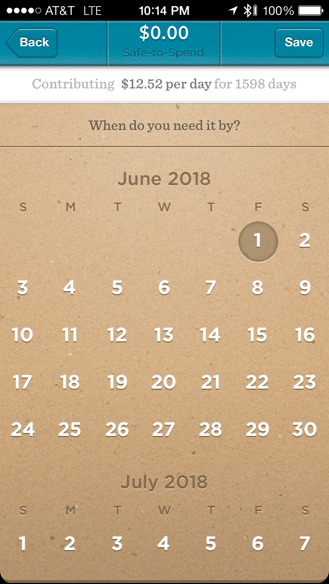simple - ipad - goal scheduling | Fin Tech Screenshots